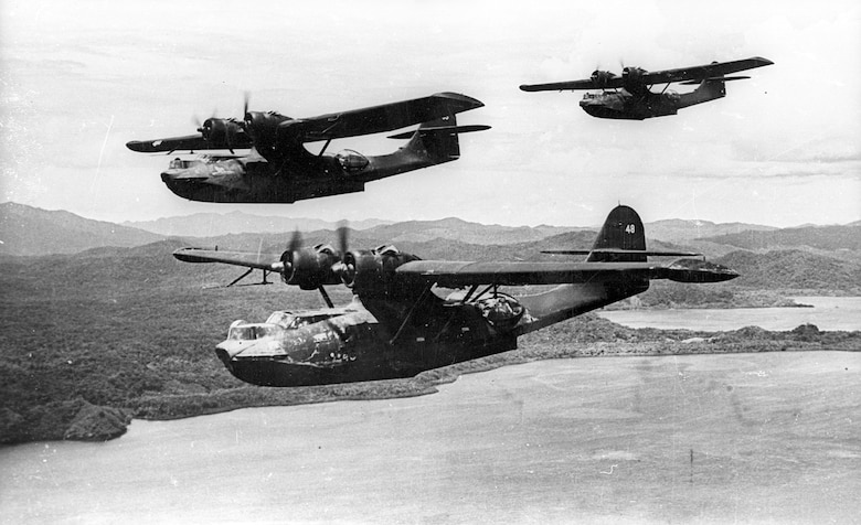 Prowling Consolidated Catalina flying boats flown by Navy and AAF pilots. The lumbering but versatile Catalina was used for reconnaissance, bombing, strafing and air-sea rescue missions. (U.S. Air Force photo)