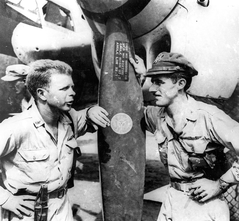 Majs. Thomas B. McGuire Jr. and Richard I. Bong on Nov. 15, 1944, in the Philippines. Majs. Bong and McGuire were the top two scoring U.S. aces in World War II with 40 and 38 victories, respectively. (U.S. Air Force photo)