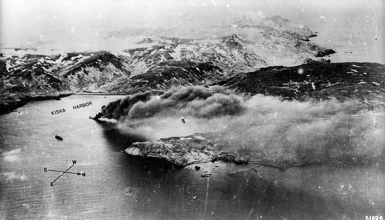 Japanese shipping is left burning in a Kiska harbor following a raid by 11th Air Force aircraft. (U.S. Air Force photo)