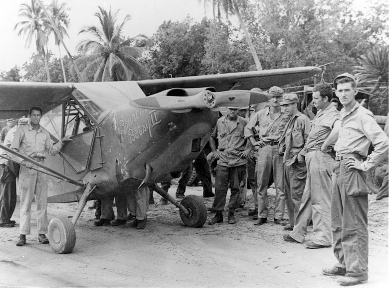"L-5 aircraft of the 25th Liaison Squadron in New Guinea. In addition to their liaison duties, sergeant pilots of the ""Guinea Short Line"" performed such varied missions as rescuing downed fliers and guiding fighters to concealed jungle targets. (U.S. Air Force photo)"