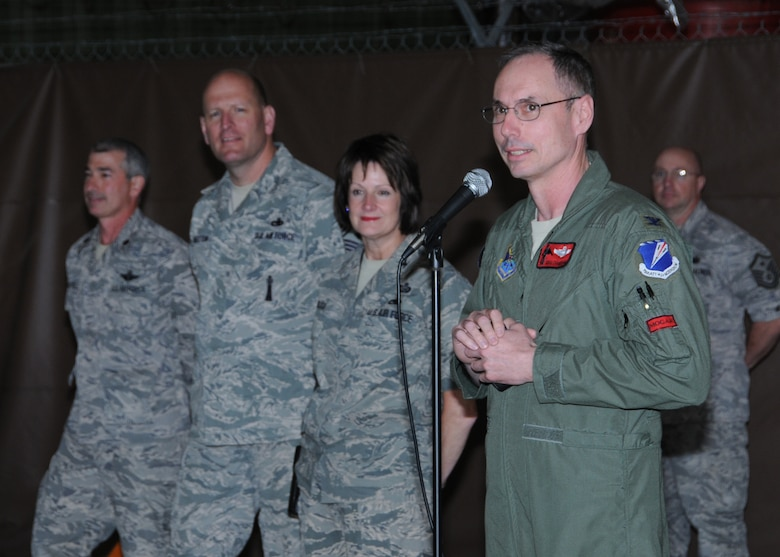 Col. Greg Champagne, 131st Bomb Wing commander, addresses Lambert Air National Guard personnel after base wide tornado clean-up efforts during drill weekend, May 1.   A category EF4 tornado swept through Lambert Field, the South Side of Lambert Air National Guard Base, and several of the surrounding cities, April 22.  Damage estimates for the Lambert base are $10.5 million (U.S.)   (Photo by Master Sgt. Mary-Dale Amison)