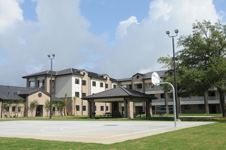 The new permanent party dormitory near the Meadows Drive Gate is nearing  completion.  It's the first new permanent party dorm to be built at Keesler in 50 years. The $14,453,279 structure has been built by Anderson/Drace Construction. Project officials expect the building to be turned over to the government in late May or early June.  (U.S. Air Force photo by Kemberly Groue)