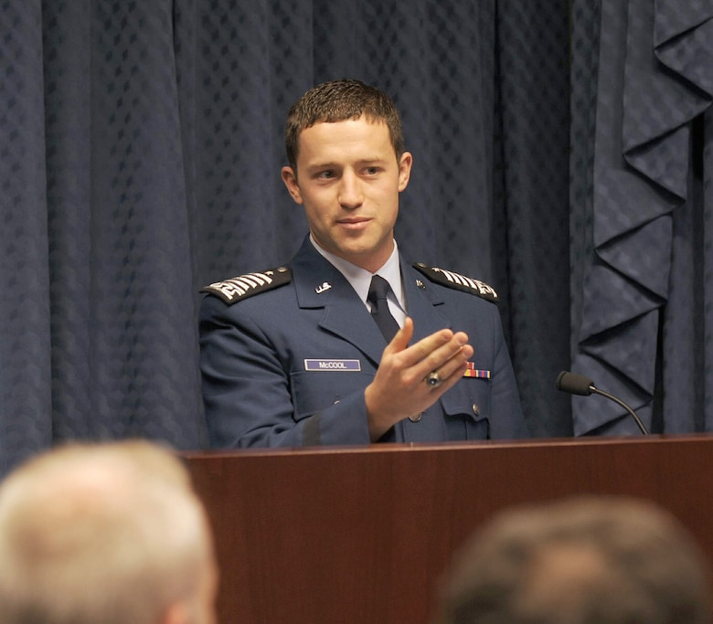Air Force Academy Cadet Christopher J. McCool addresses the audience during a ceremony May 12, 2011, at the Pentagon. Cadet McCool was recognized as the 2010 U.S. Air Force Cadet of the Year at the event. (U.S. Air Force photo/Andy Morataya)