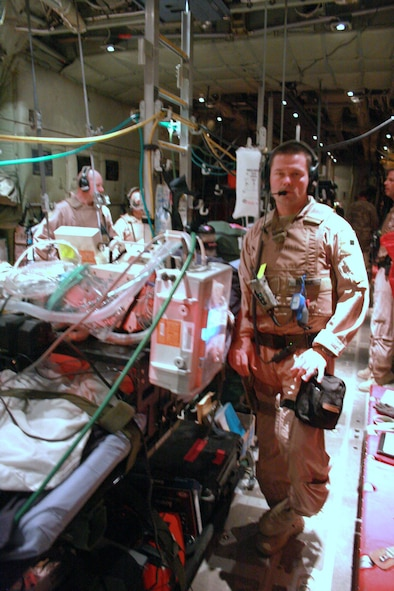 Tech. Sgt. Matthew Blonde is at home in intensive care during a deployment.  Sergeant Blonde, 452nd Aeromedical Staging Squadron, is a member of the Critical Care Aeromedical Transport Team and a full-time, civilian respiratory therapist.  (Photo courtesy of TSgt. Matt Blonde)