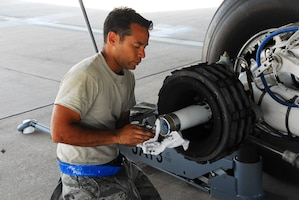 Staff Sgt. Glen Meyers, 157th Air Refueling Wing, New Hampshire Air National Guard, inspects an axle for the main landing gear wheel and tire assembly installation. Currently assigned to the 313th Air Expeditionary Wing, he is assigned to the maintenance group responsible for maintaining the wing's aircraft flee, May 10, 2011, Western Europe. The wing supports Operation Unified Protector, a NATO-led mission in Libya to protect civilians and civilian-populated areas under threat of attack. The 313th AEW provides aerial refueling to U.S. and coalition aircraft with KC-135 Stratotankers and KC-10 Extenders. (U.S. Air Force photo by Tech. Sgt. Stacy Gault/Released)