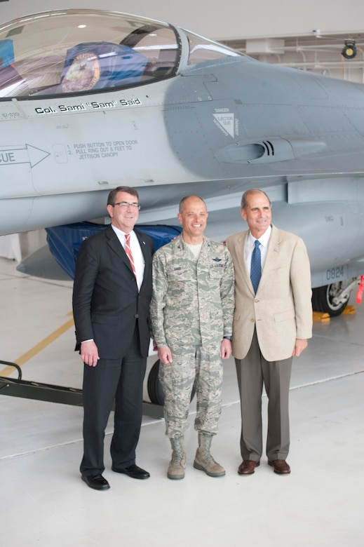 The Honorable Ashton B. Carter (left), Under Secretary of Defense for Aquisition, Technology and Logistics, joined the new Wing Commander and Mr. Michael J. Bayer (right), The Chairman of the Defense Business Board, after a recent Change of Command Ceremony held in Fresno, Calif. on May 14, 2011. The Honorable Ashton B. Carter congratulated Col. Sami D. Said on his new position as the 144th Fighter Wing Commander.   (U.S. Air Force photo by Master Sgt. David Loeffler/released)