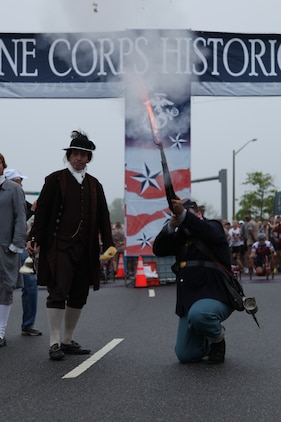 The sound of a replica British Enfield Civil War-era musket signaled the start of the Marine Corps Marathon Historic Half in Fredericksburg, Va., May 14. For this year's 13.1 mile run, actor, comedian and Marine, Drew Carey, who served in the Marine Corps Reserve from 1981-1987, was the official starter.