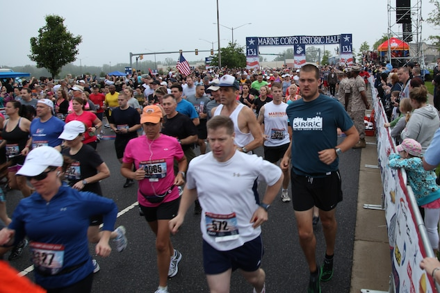 It took more than 5 minutes for the thousands of runners to pass the starting line of this year's Marine Corps Marathon Historic Half in Fredericksburg, Va., May 14. It is the 4th time the historical city of Fredericksburg has hosted the Historic Half and was the largest turnout with 8,000 registered runners.