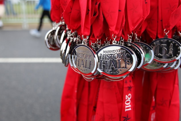 Precisely at 7 a.m., the sound of a replica British Enfield Civil War-era musket signaled the start of the Marine Corps Marathon Historic Half in Fredericksburg, Va., May 14. Thousands of runners took on the 13.1-mile trek through remarkable Virginia countryside to show their support for the United States Marine Corps.