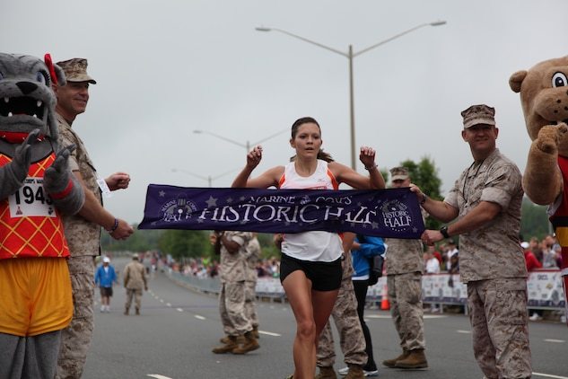 Lanni Marchant of Okemos Va., was the first female to finish with a time of 1 hour 21 minutes and 27 seconds at the Marine Corps Marathon Historic Half in Fredericksburg, Va., May 14. This year was the 4th Historic Half to take place in the historical city of Fredericksburg and was also the largest with 8,000 registered runners.