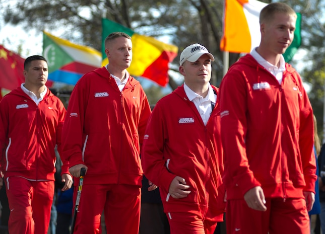 Members of the All-Marine team march down the Olympic walkway following the conclusion of the opening ceremony for the 2011 Warrior Games at the Olympic Training Center. The Warrior Games is an annual Paralympic-style competition for wounded, ill and injured service members.