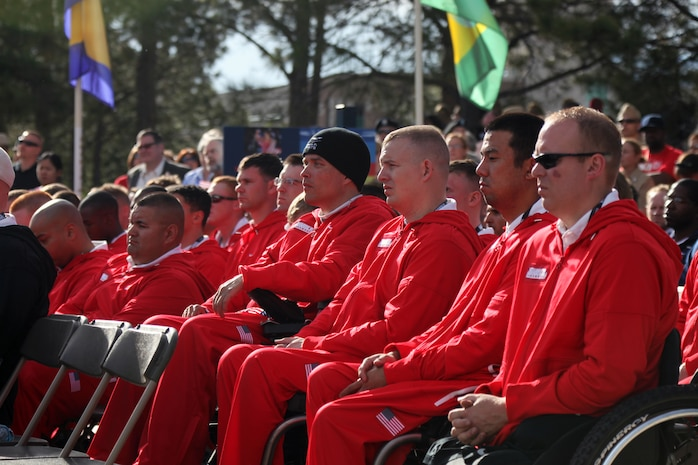 U.S. Marines listen to the guest speakers during the Opening Ceremony of the 2011 Warrior Games at the Olympic Training Center in Colorado Springs, Colo. MAY 16, 2011. The All-Marine Team will compete against the other military branches in various events including wheelchair basketball, sitting volleyball, and cycling.::r::::n::(U.S. Marine Corps photo by Lance Cpl. Kayla M. Hermann)