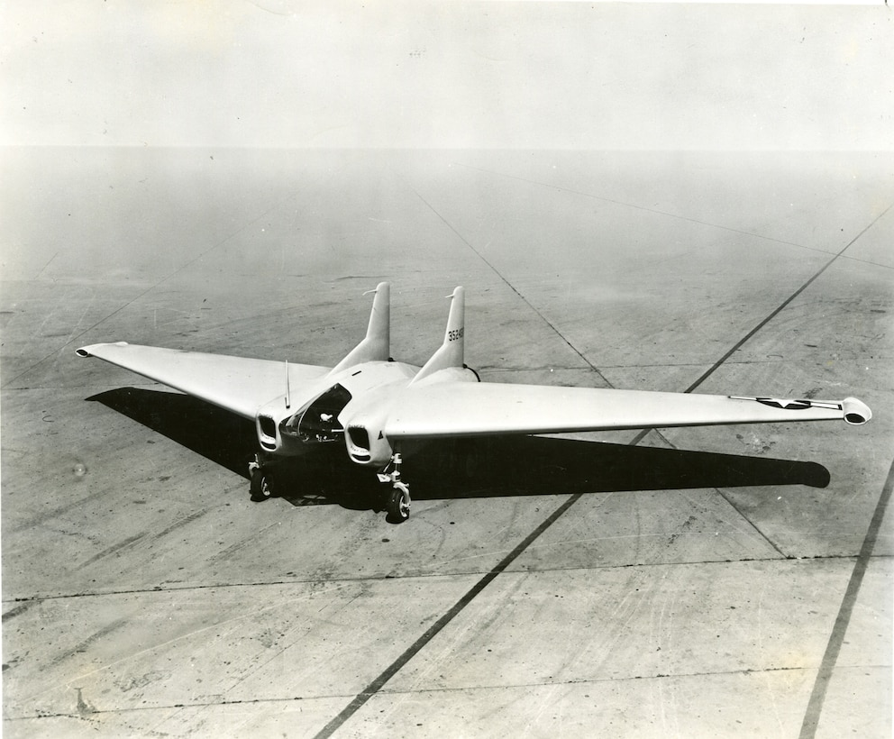 Northrop XP-79B areial 3/4 side view. (U.S. Air Force photo)