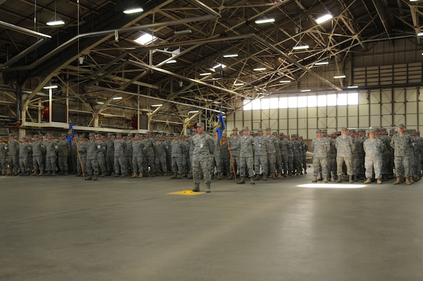 Members of the 103rd Maintenance Group, Connecticut Air National Guard, stand in formation during the annual maintenance group awards ceremony at Bradley Air National Guard Base, East Granby, Conn., April 17, 2011. Awards were given in recognition of the multiple accomplishments of the 103rd Maintenance group members during 2010. (U.S. Air Force photo by Tech. Sgt. Tedd Andrews)