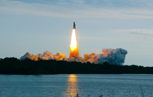 CAPE CANAVERAL AIR FORCE STATION, Fla. -- Liftoff of Space Shuttle Endeavour on its STS-134 mission, May 16 at 8:56a.m. Eastern Daylight Time. This will be Endeavour's 25th and final voyage into space. (Air Force photo by/Capt. Jared Scott)