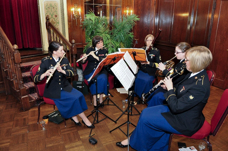 Members of the 484th Army Band entertained guests during the ESGR breakfast held at the Wisconsin Club in downtown Milwaukee, May 16, 2011.  Each year the Milwaukee Armed Forces Committee and Wisconsin Committee for Employer Support of the Guard and Reserve (ESGR) recognize the men and women who serve the armed forces and the employers that support them. U.S. Air Force photo by Tech Sgt. Thomas J Sobczyk  / Released