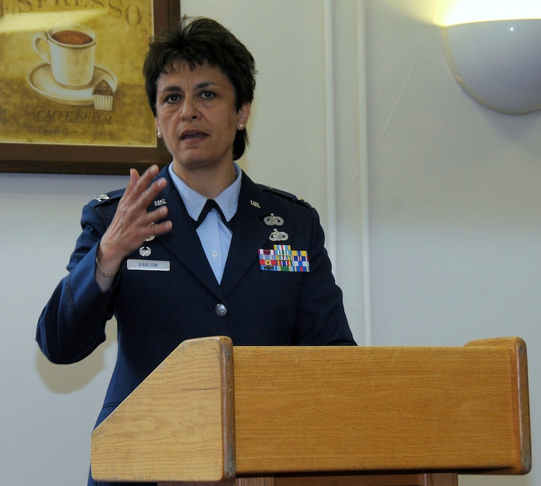 ROYAL AIR FORCE FELTWELL, England -- Guest speaker Col. Cassie Barlow, 48th Mission Support Group commander, speaks during the dedication ceremony of the newly renamed Ward Community Activity Center on May 14, 2011. The building was named in honor of Sgt. James A. Ward, the first New Zealander awarded the Victoria Cross; the British equivalent of the Medal of Honor. Sergeant Ward was stationed at RAF Feltwell with the Royal New Zealand Air Force No. 75 Squadron during World War II. He was awarded the medal for his heroic actions on July 7, 1941, when his Wellington bomber caught fire from an enemy attack. (U.S. Air Force photo/Staff Sgt. Connor Estes)