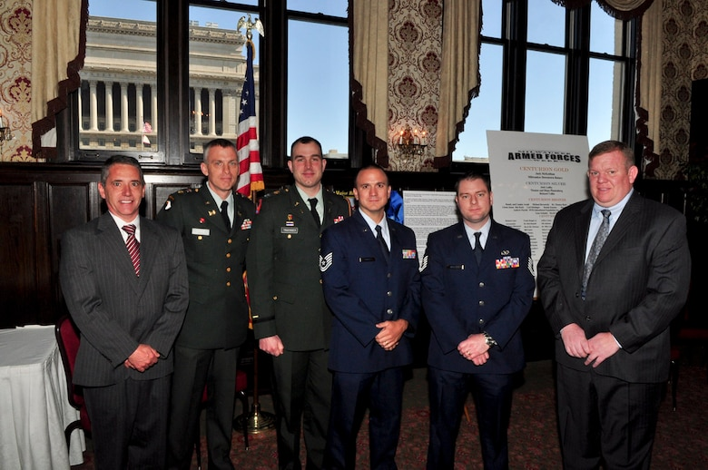 Service members and employers were in attendance for the ESGR breakfast held at the Wisconsin Club in downtown Milwaukee, May 16, 2011.  Each year the Milwaukee Armed Forces Committee and Wisconsin Committee for Employer Support of the Guard and Reserve (ESGR) recognize the men and women who serve the armed forces and the employers that support them. U.S. Air Force photo by Tech Sgt. Thomas J Sobczyk  / Released
