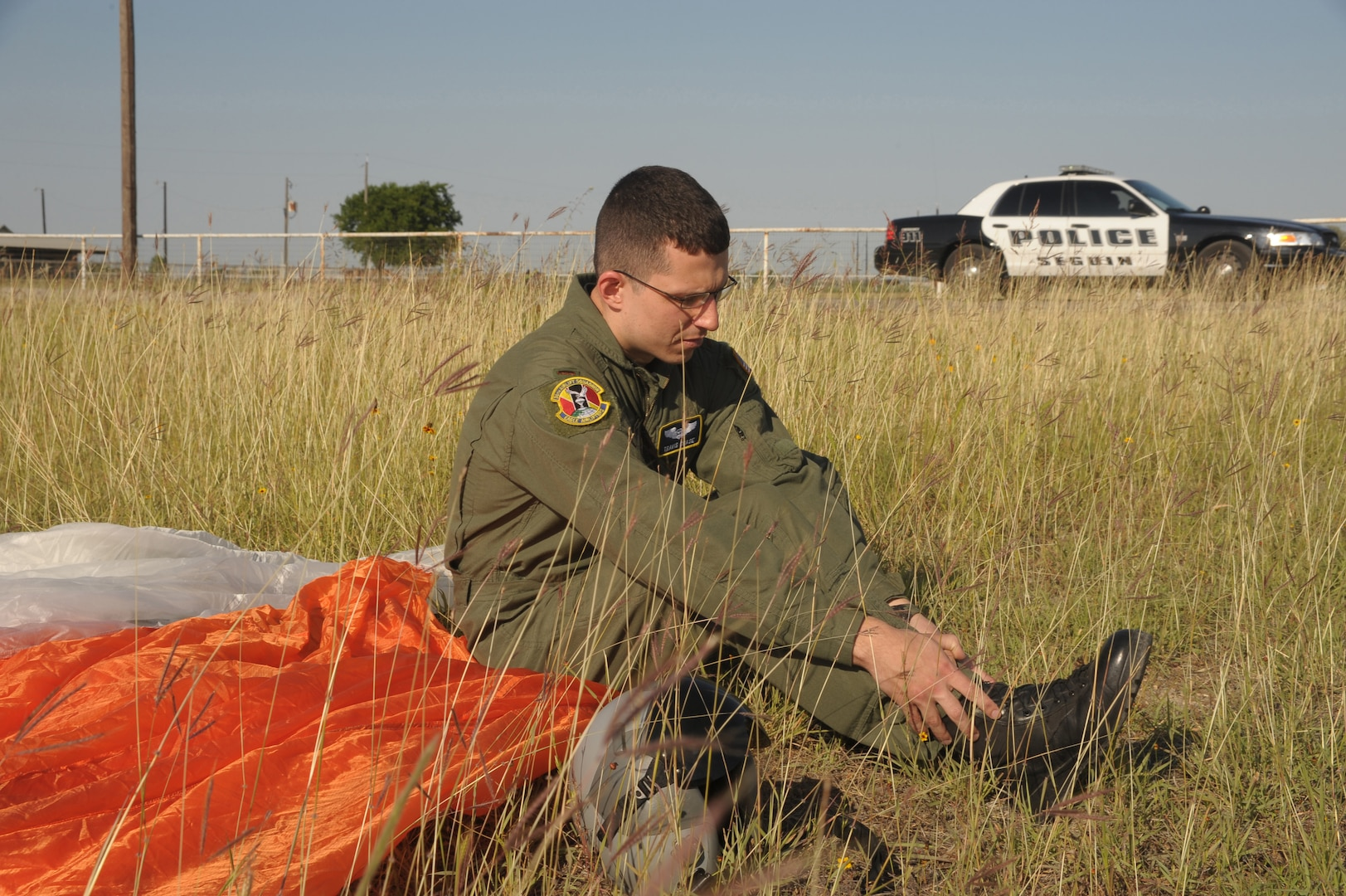 2nd Lt Travis Chase, 12th Operations Support Squadron,  await for medical assistance May 17, during an exercise.  The exercise, which involved response forces from Seguin, Texas, and Randolph Air Force Base, Texas, allowed and opportunity to train and prepare personnel for real world emergencies. (U.S. Air Force photo/Joel Martinez) (released)