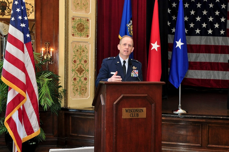 Brigadier General Donald P. Dunbar, Adjutant General of Wisconsin, addresses guests at the ESGR breakfast held at the Wisconsin Club in downtown Milwaukee, May 16, 2011.  Each year the Milwaukee Armed Forces Committee and Wisconsin Committee for Employer Support of the Guard and Reserve (ESGR) recognize the men and women who serve the armed forces and the employers that support them. U.S. Air Force photo by Tech Sgt. Thomas J Sobczyk  / Released