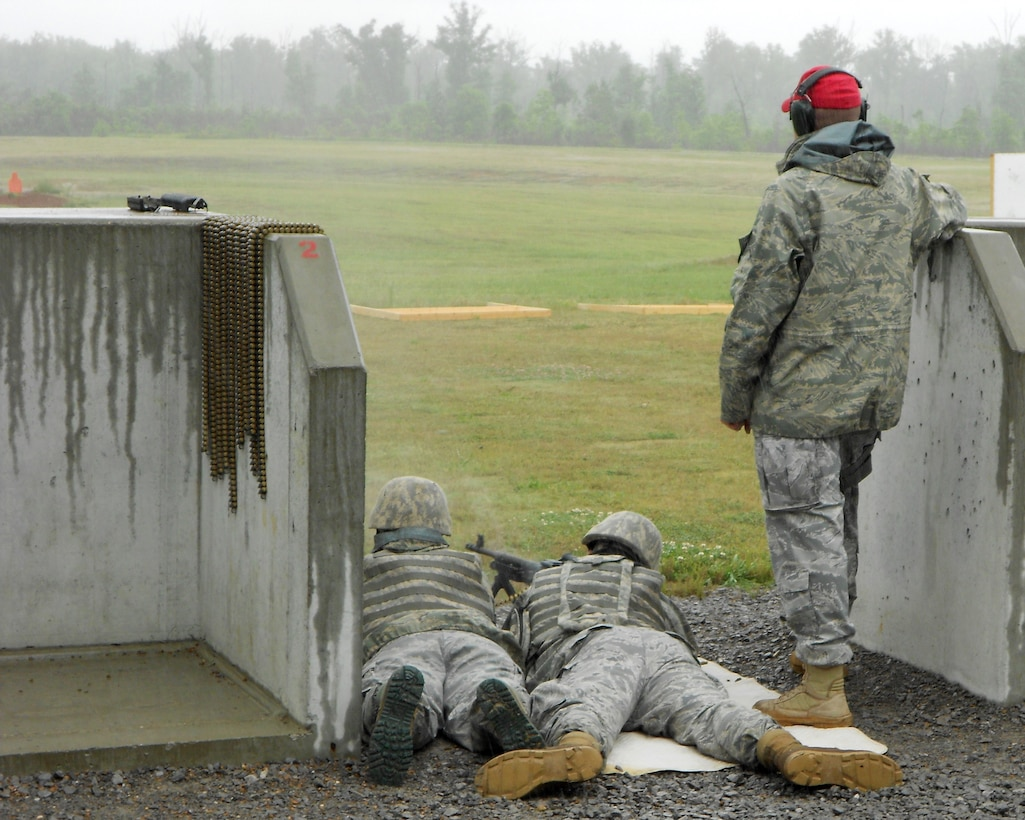 118th Airlift Wing Security Forces members take aim and fire during a training exercise in Tullahoma May 15, 2011.
