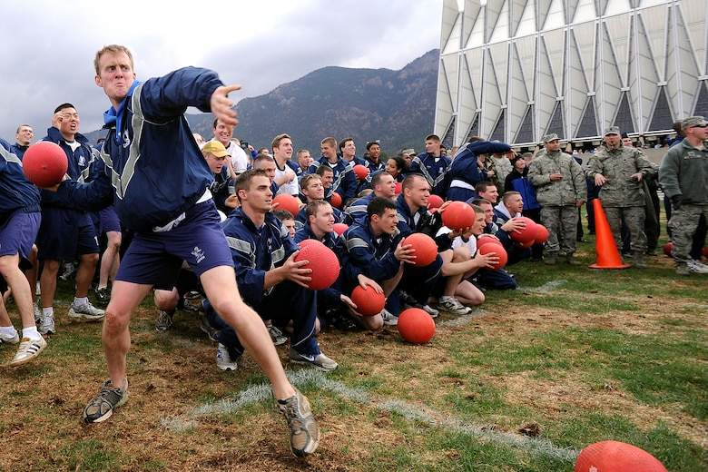 More than 3,500 cadets participated in a single-elimination dodgeball game Wednesday on the Terrazzo, in an attempt to break a Guinness World Record. (U.S. Air Force Photo by Mike Kaplan)