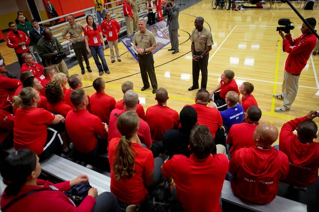 Commandant of the Marine Corps Gen. James Amos and Sgt. Maj. of the Marine Corps Carlton Kent said they were very proud of the All-Marine team's success at the 2011 Warrior Games during a visit May 19, 2011, at the Olympic Training Center in Colorado Springs, Colo. The 48-member team, consisting of active-duty and veteran wounded, ill or injured Marines, are going head-to-head against the other branches of the Armed Forces to defend its 2010 title.
