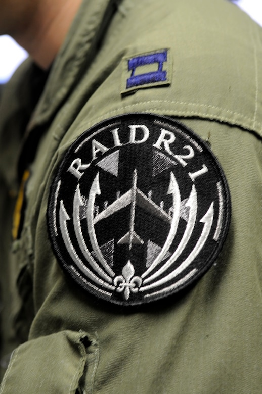 Aircrew from the bomber community sometimes wear a RAIDR 21 patch to honor and remember their fallen brothers on Fridays. RAIDR 21 was the call sign of a B-52H from Barksdale Air Force Base, La., which crashed off the coast of Guam July 21, 2008, killing the six aircrew. (U.S. Air Force photo/Staff Sgt. John Gordinier)(RELEASED)