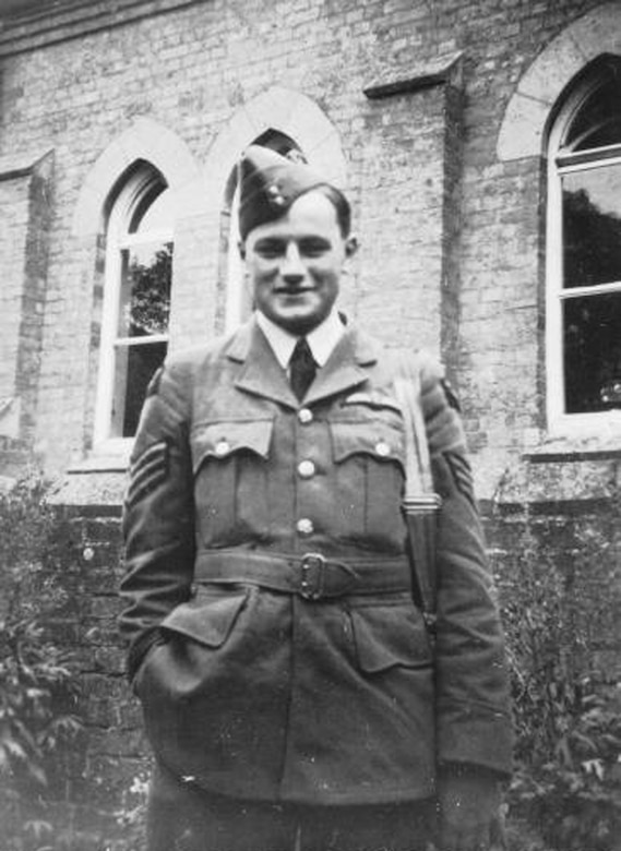 ROYAL AIR FORCE FELTWELL, England -- Photo of Sgt. James A. Ward, in front of a church at Hockwold, England, was the first New Zealander awarded the Victoria Cross; the British equivalent of the Medal of Honor. Sergeant Ward was stationed at RAF Feltwell with the Royal New Zealand Air Force No. 75 Squadron during World War II. He was awarded the medal for his heroic actions on July 7, 1941, when his Wellington bomber caught fire from an enemy attack. (Courtesy photo)