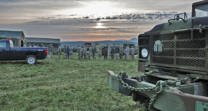 GEROLSTEIN, Germany –Airmen from the 606th Air Control Squadron line up for breakfast as part of exercise Eifel Thunder 2011 here May 10. The 606th ACS participated in a field exercise that tested their ability to deploy and set up a deployed radar and satellite communications site as well as everything else required to accomplish their mission.  The squadron returned to Spangdahlem Air Base May 16. (U.S. Air Force photo/Senior Airman Nick Wilson)