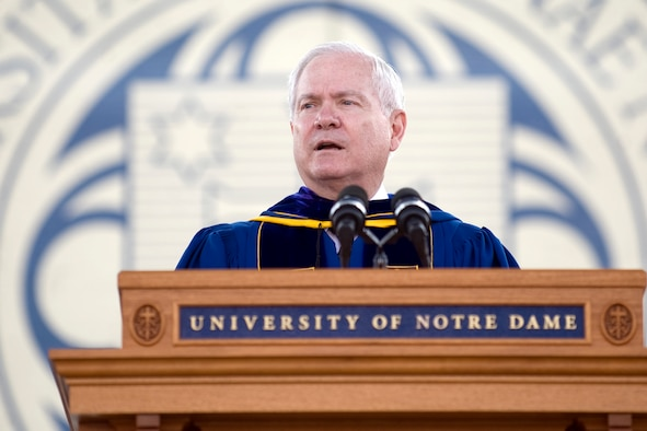 Defense Secretary Robert M. Gates speaks during the University of Notre Dame commencement ceremony May 22, 2011, in South Bend, Ind. Secretary Gates told graduates that the size and strength of the U.S. military will be key to U.S. success in the 21st Century. (Defense Department photo/Cherie Cullen)