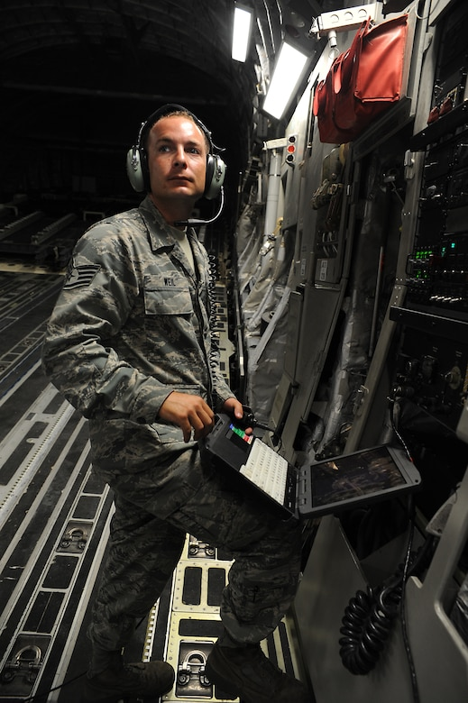 Staff Sgt. Daniel Weil prepares to operate the cargo ramp and door on a C-17 during an Home Station Check inspection on Joint Base Charleston, May 23. HSC is a three-day inspection performed every 120 days. Sergeant Weil works in the HSC department of the 437th Maintenance Squadron. (U.S. Air Force photo/ Staff Sgt. Nicole Mickle)