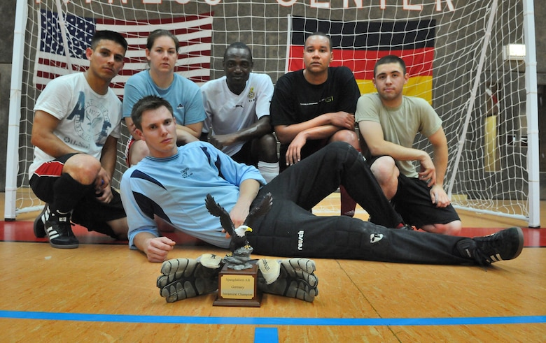 SPANGDAHLEM AIR BASE, Germany – The 52nd Civil Engineer Squadron Force defeated the 52nd Force Support Squadron Sabers 9-3 to win the 52nd Fighter Wing's intramural indoor soccer championship game at the Skelton Memorial Fitness Center May 20. (U.S. Air Force photo/Senior Airman Nick Wilson)