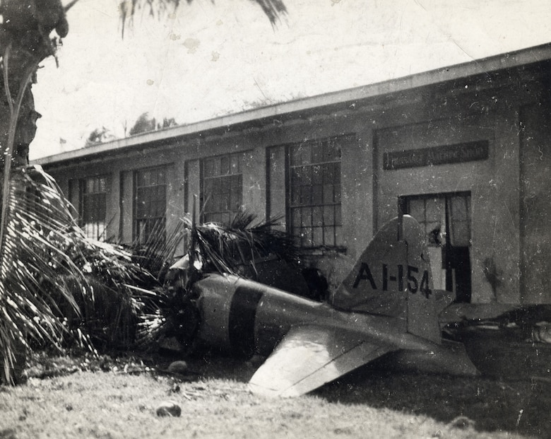 The first Japanese plane shot down during the attack on Pearl Harbor on Dec. 7, 1941. (U.S. Air Force photo)