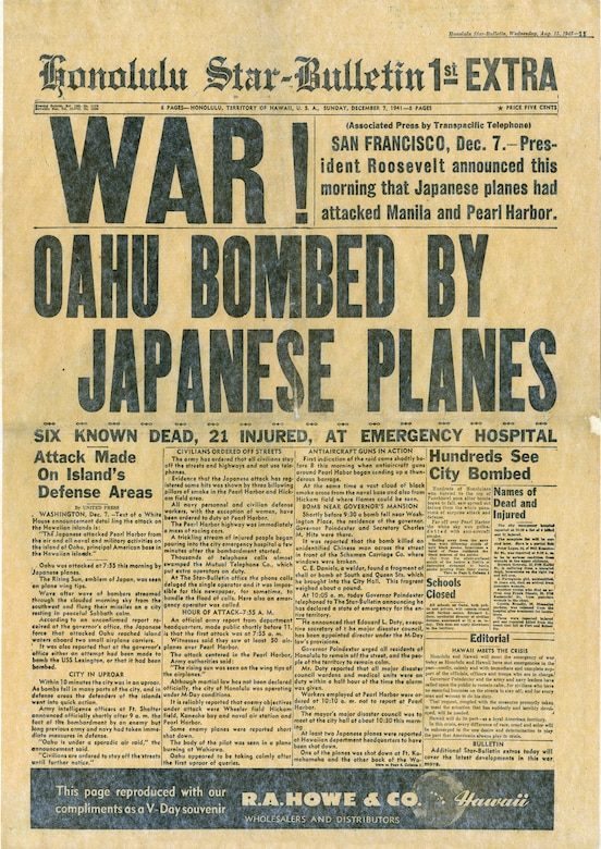 Honolulu Star-Bulletin following the attack on Pearl Harbor. (U.S. Air Force photo)