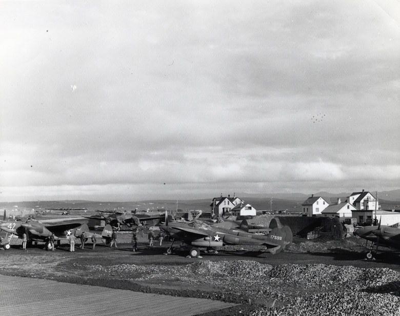P-38s at refueling stop in Iceland on their way to England in the summer of 1942. (U.S. Air Force photo)