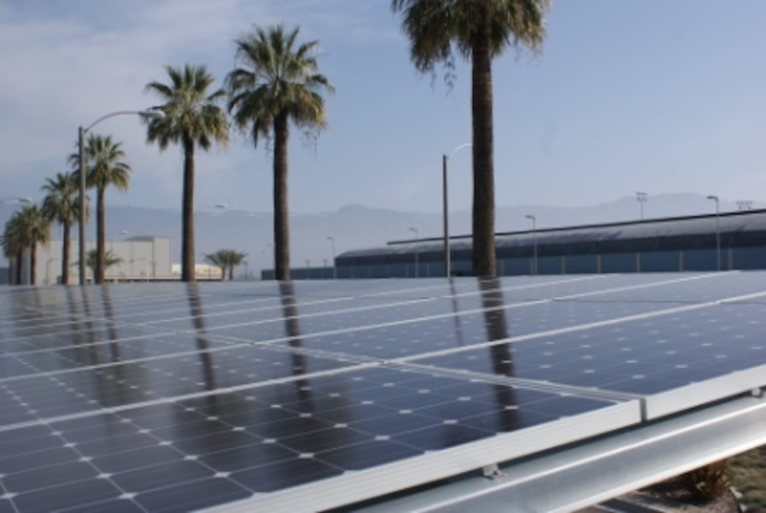 San Bernardino International Airport, located on the former Norton AFB, installed a solar parking lot that generated enough energy to offset utility bills at the airport terminal. [Photos courtesy of Inland Valley Development Agency]