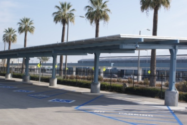 A parking lot at the former Norton AFB is going solar, thanks to a $2.8 million project to shade the San Bernardino International Airport's parking lot. [Photos courtesy of Inland Valley Development Agency]