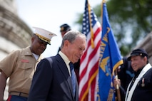 NEW YORK - New York Mayor Michael Bloomberg walks down from the Soldiers' and Sailors' Monument after laying a wreath in honor of Memorial Day and escorted by Harlem Youth Marine Cadets, May 30. He was joined by Major Gen. Richard Mills, a Huntington, N.Y., native,  and a number of Fleet Week New York Marines and sailors. More than 3,000 Marines, Sailors and Coast Guardsmen in the area participating in community outreach events and equipment demonstrations as part of Fleet Week New York 2011. This is the 27th year New York has hosted the sea services for Fleet Week. (Official Marine Corps photo by Sgt. Randall A. Clinton / RELEASED)