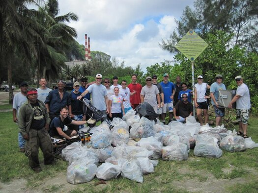 The 96th Bomb Squadron stationed at Anderson Air Force Base partnered with the Department of Parks and Recreation, the Islandwide Beautification Task Force and the Dededo Mayor's Office to clean up the Tanguisson Beach Park in Dededo May 28.