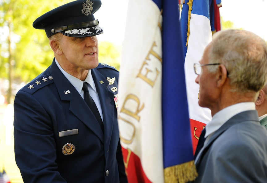 SAINT JAMES, France – U.S. Air Force Lt. Gen. Frank Gorenc, 3rd Air Force commander, thanks French veterans for their participation in a memorial ceremony at Brittany American Cemetery and Memorial in Saint James, France, May 29. Brittany American Cemetery is the final resting place for 4,410 U.S. service members who died during the Normandy and Brittany campaigns of World War II in 1944. (U.S. Air Force photo/Senior Airman Nathanael Callon)