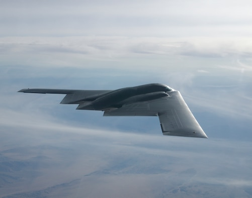 The B-2 Stealth Bomber on a test mission from Edwards Air Force Base, Calif.   The polar flight helped ensure that the B-2 maintains its global combat power capability in all environments with new computers for future growth and sustained contributions to the greater Air Force mission. (U.S. Air Force Photo by Bobbi Zapka)