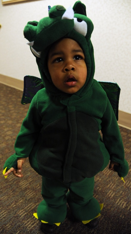 Jaden Skinner – whose dad Senior Airman Kenneth Skinner works for the 319th Logistics Readiness Squadron - poses in his costume while trick or treating at the medical clinic on Grand Forks Air Force Base, N.D., on Oct. 31, 2011.  The 319th Medical Group hosts trick or treating every year as a way for children and families to enjoy the holiday.  (U.S. Air Force photo by Airman 1st Class Xavier Navarro)
