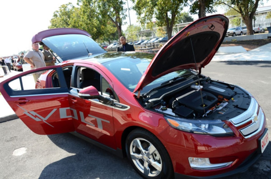 The Chevrolet Volt was among the electric and hybrid vehicles showcased during the Energy Efficient Auto Expo hosted by the Air Force Real Property Agency in San Antonio, Texas.