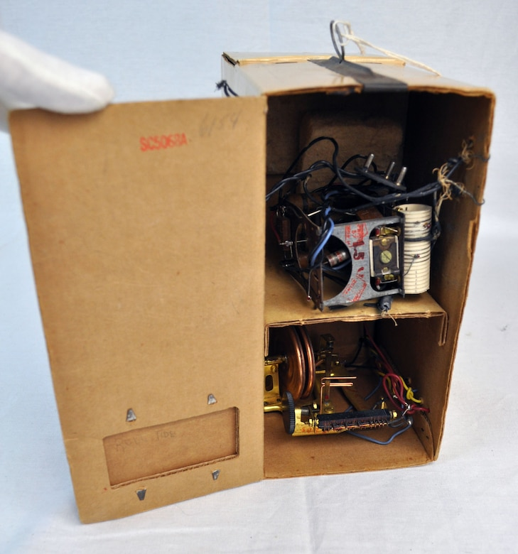 A radiosonde is an instrument unit that would be attached to a balloon to transmit atmospheric data back to a fixed receiver. Data collected could include wind speed and direction, pressure, temperature and humidity. (U.S. Air Force photo)