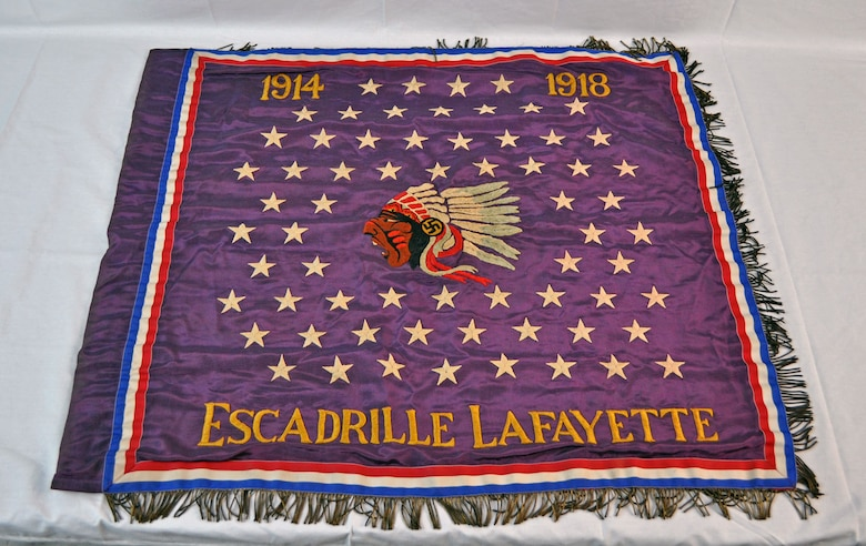 "During World War I, many Americans citizens volunteered with the Lafayette Flying Corps to serve as volunteer pilots and observers in French combat squadrons.  In April 1916, the most famous American squadron, N124 ""Escadrille Americaine,"" was established. Once America entered the war in 1917, many of the American volunteers were folded into the Army Air Service's 103rd Aero Squadron. (U.S. Air Force photo)"