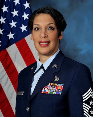 Command Chief Master Sgt. Margarita Overton, 36th Wing Command Chief.