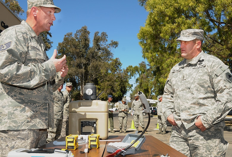 Major General David Baldwin, Adjutant General for California visits the Civil Engineering Squadron at the 146th AW Oct. 1, 2011.