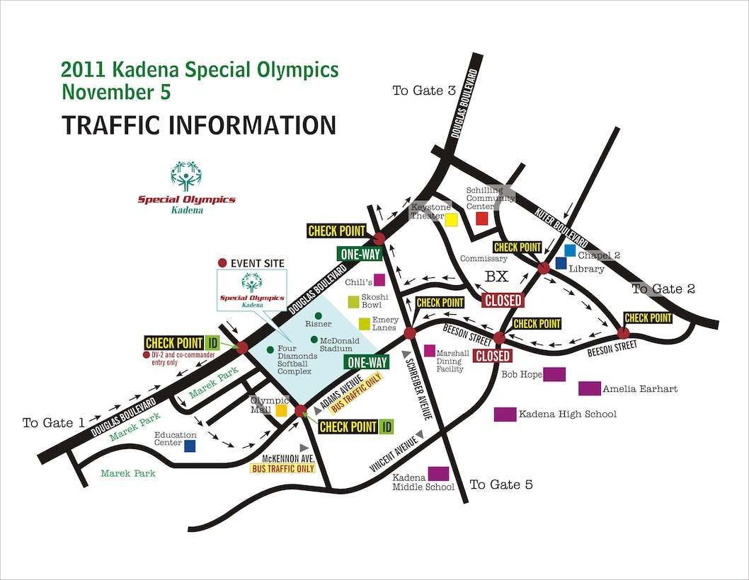 Base commuters should take note that there will be limited traffic flow in and around the Risner Fitness Complex this Saturday. (U.S. Air Force graphic art/Naoko Shimoji)