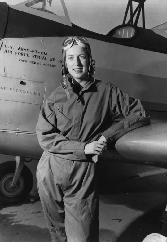 Cornelia Fort (with a PT-19A) was a civilian instructor pilot at an airfield near Pearl Harbor, Hawaii, when the Japanese attacked on Dec. 7, 1941. (U.S. Air Force photo)